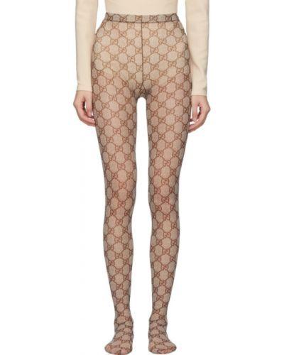 Коричневые нейлоновые колготки стрейч Gucci