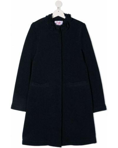 Синее шерстяное длинное пальто с потайной застежкой Il Gufo