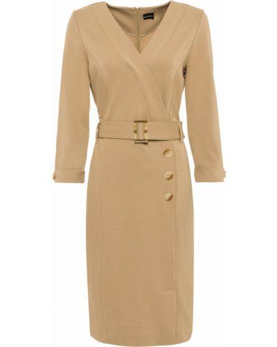 Приталенное классическое платье-футляр с запахом на пуговицах Bonprix