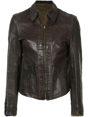 Коричневая классическая кожаная куртка на молнии с воротником Fake Alpha Vintage