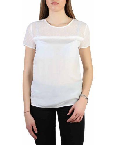 T-shirt z jedwabiu - biała Armani Jeans