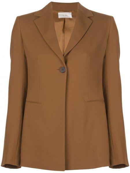 Шерстяной коричневый пиджак с карманами The Row