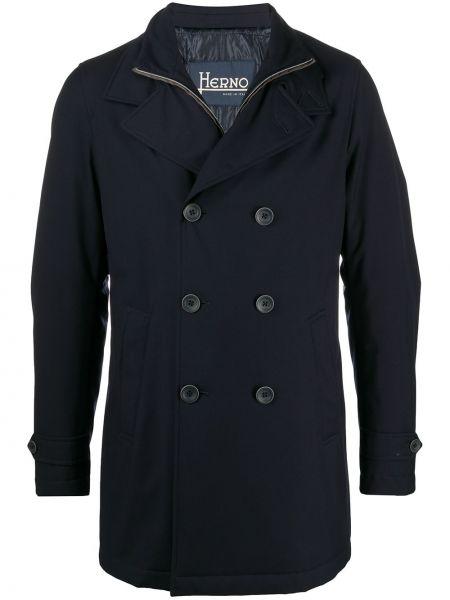 Niebieski wełniany płaszcz z klapą z kieszeniami Herno
