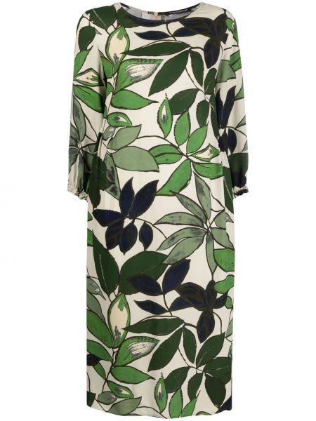 Зеленое платье миди из вискозы с карманами Luisa Cerano