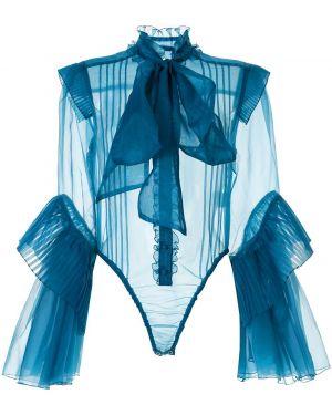 Блузка с бантом - синяя Facetasm