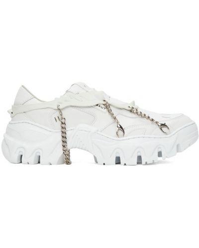 Białe sneakersy na platformie Rombaut