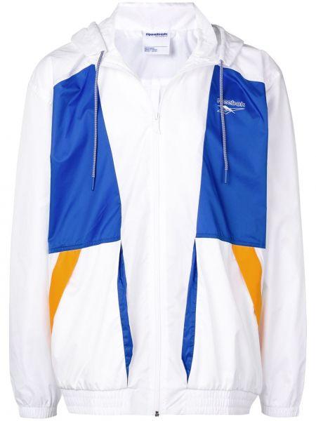 Белая куртка с капюшоном с манжетами на молнии Reebok