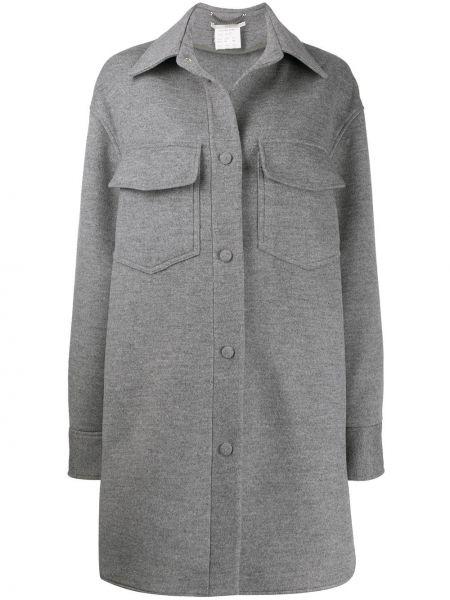 Серое пальто классическое оверсайз с воротником Stella Mccartney