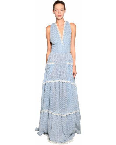 Синее кружевное платье макси без рукавов Luisa Beccaria