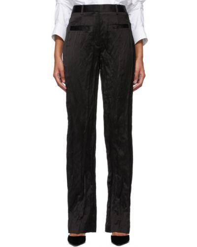 Czarne spodnie z paskiem srebrne Alexander Wang