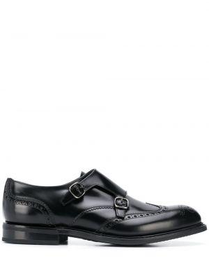 Черные кожаные монки с тиснением Church's