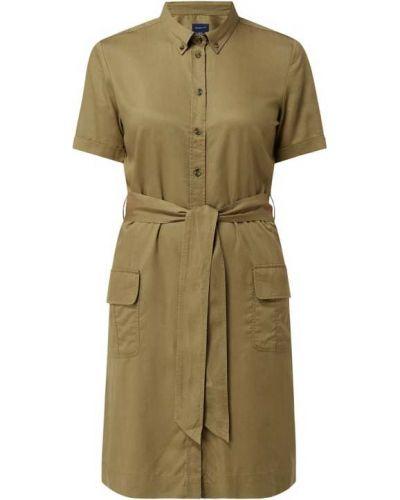 Zielona sukienka mini krótki rękaw safari Gant