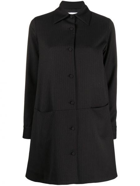 Шерстяное черное пальто классическое с воротником Société Anonyme