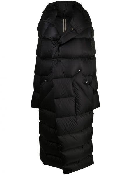 Z rękawami czarny wełniany klasyczny płaszcz z kapturem Rick Owens