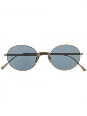 Серебряные солнцезащитные очки круглые Persol