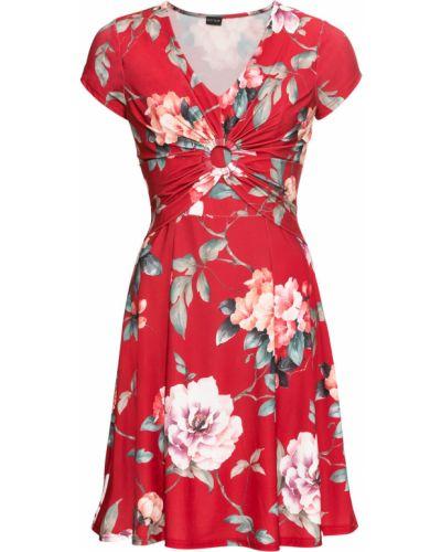 Летнее платье с цветочным принтом с драпировкой Bonprix