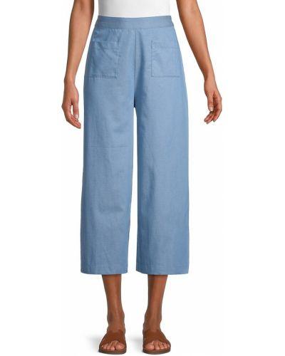 Синие льняные укороченные брюки с карманами Bcbgeneration