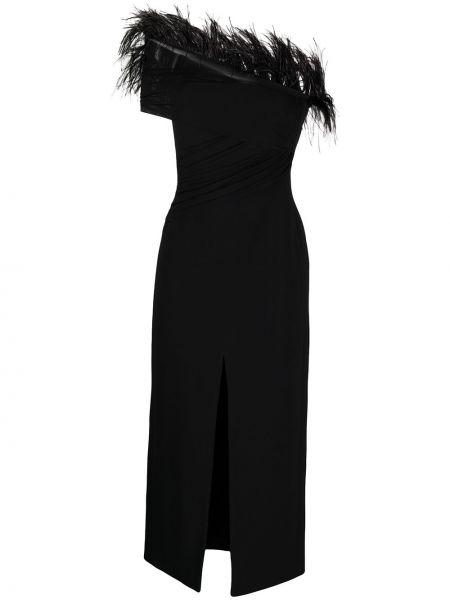 Открытое с рукавами черное платье миди David Koma