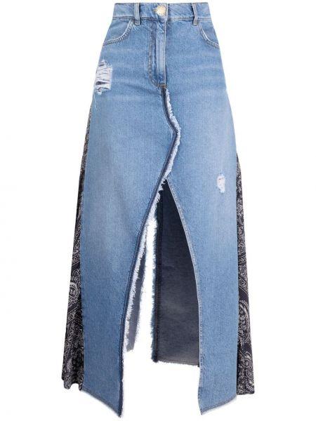Niebieska spódnica jeansowa z wysokim stanem z paskiem Pinko