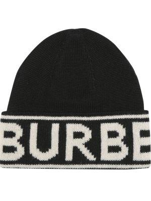 Z kaszmiru czarna czapka Burberry