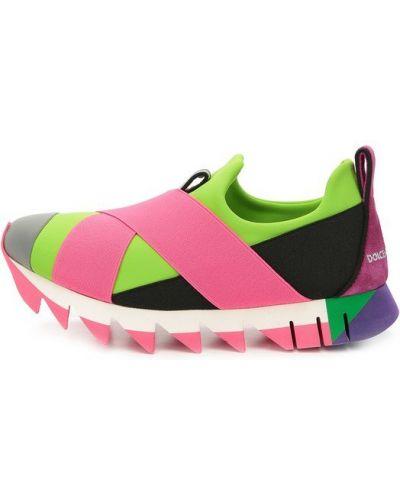 Розовые кроссовки с вышивкой Dolce & Gabbana
