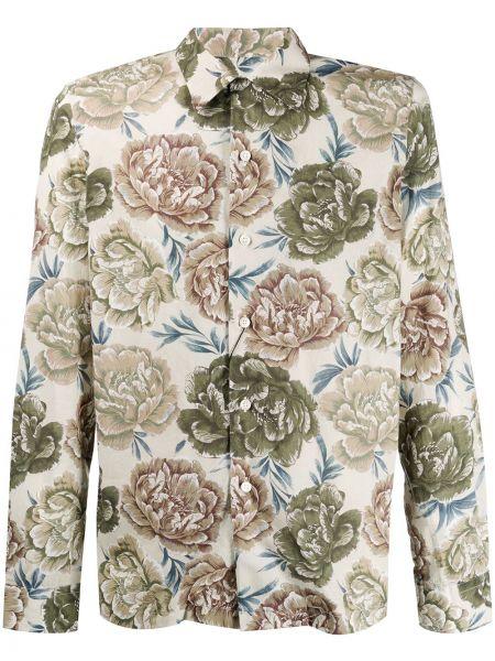 Koszula z długim rękawem prosto z kwiatowym nadrukiem Dell'oglio