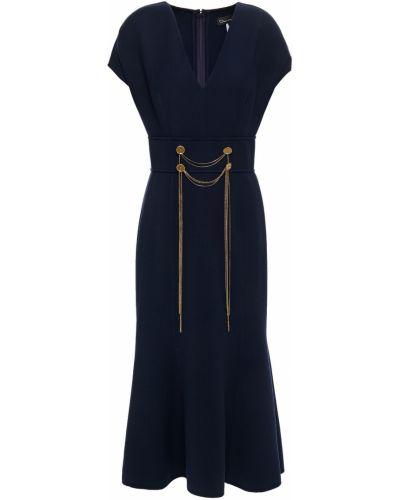 Шерстяное платье миди - синее Oscar De La Renta