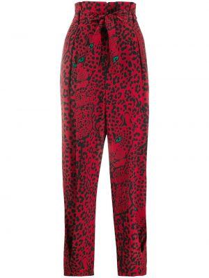 Czarne spodnie z jedwabiu z printem Redvalentino