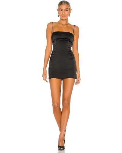 Satynowa czarna sukienka mini z haftem Danielle Guizio