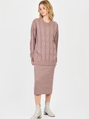 Вязаная юбка миди - розовая Baon