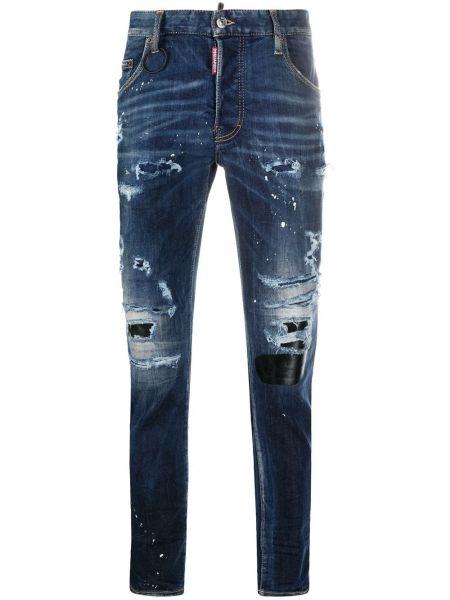 Кожаные синие джинсы на молнии Dsquared2