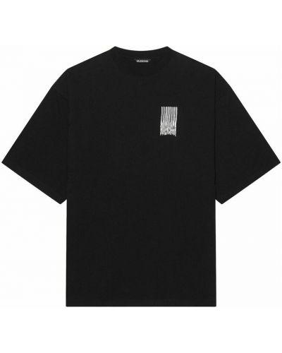 Czarna t-shirt z printem Balenciaga