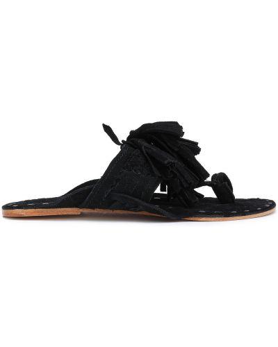 Czarne sandały skorzane z frędzlami Figue