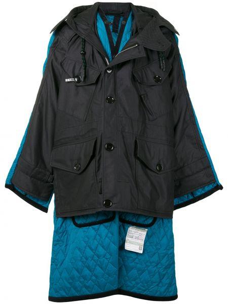 Черное стеганое длинное пальто с воротником на пуговицах Maison Mihara Yasuhiro