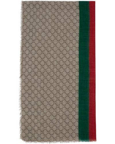 Коричневый шерстяной шарф прямоугольный Gucci