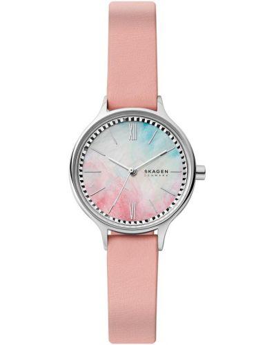 Różowy zegarek srebrny Skagen