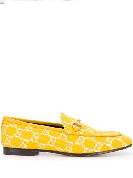 Bawełna żółty loafers z prawdziwej skóry płaska podeszwa Gucci