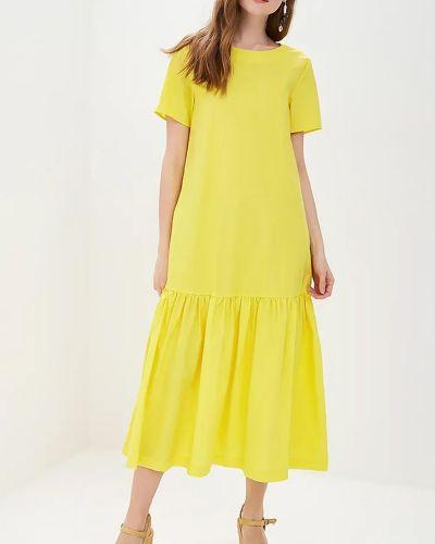 Желтое хлопковое платье миди на молнии Baon