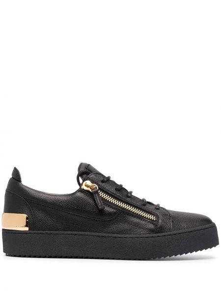 Koronkowa skórzany czarny sneakersy na sznurowadłach Giuseppe Zanotti