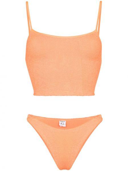 Оранжевые нейлоновые бикини квадратные Hunza G