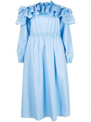 Платье миди с открытыми плечами - синее Jason Wu