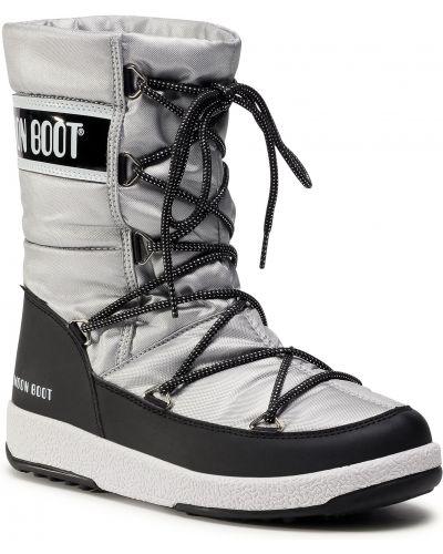 Czarne śniegowce skorzane pikowane Moon Boot