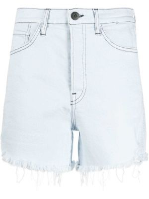 Джинсовые шорты с бахромой - синие 3x1