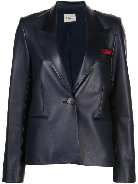 Однобортный синий кожаный пиджак Khaite