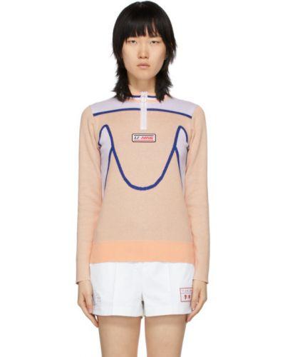 Хлопковый белый длинный свитер с воротником Li-ning