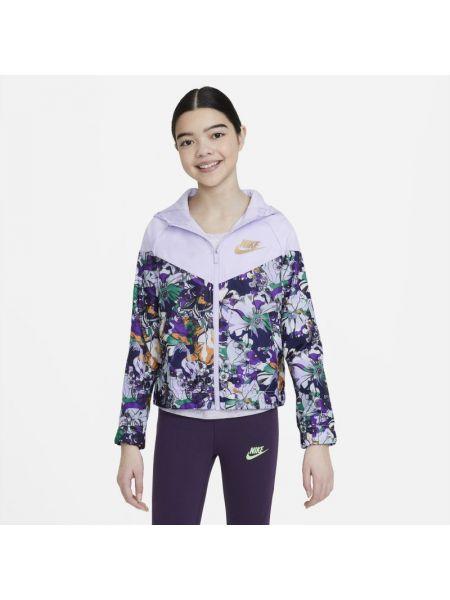 Klasyczna fioletowa kurtka z printem Nike
