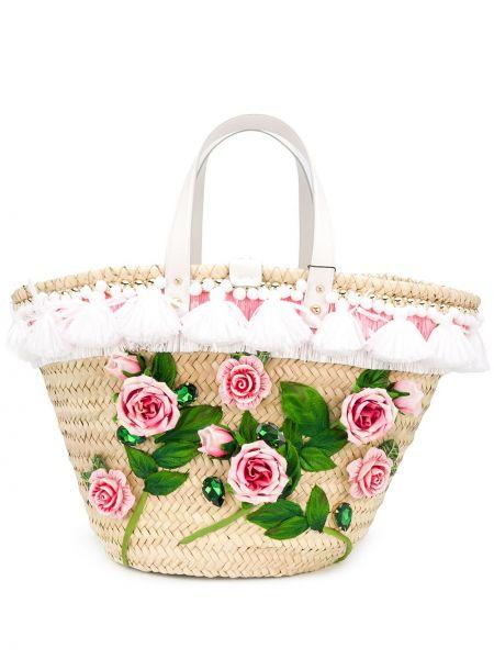 Соломенная кожаная сумка-тоут на молнии Dolce & Gabbana
