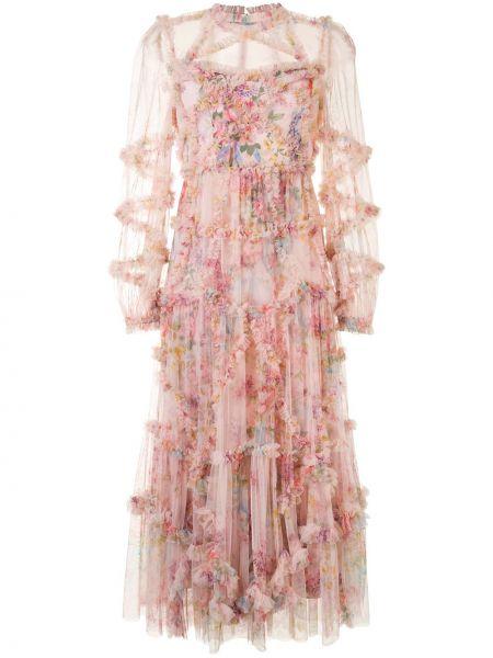 Розовое платье миди из фатина со вставками прозрачное Needle & Thread