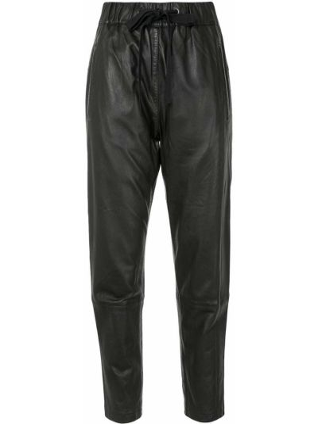 Зауженные кожаные черные брюки Ginger & Smart