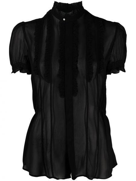 Jedwab czarny bluzka przezroczysty z kołnierzem Polo Ralph Lauren